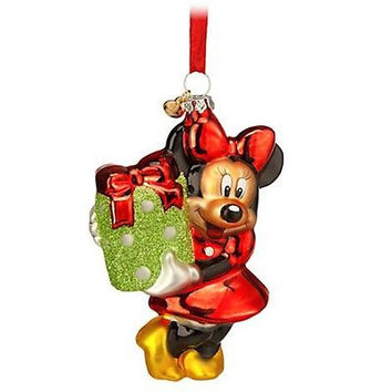 disney store 2014 sketchbook glass minnie with present christmas ornament new