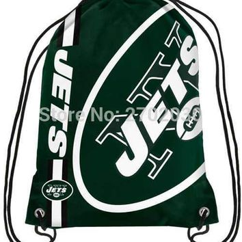 New York Jets Drawstring Bags Men Sports Backpack Digital Printing Pouch Customize Bags 35*45cm Sports US Fottball Team
