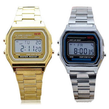 New Fashion Unisex's Watches Men's Vintage Stainless Steel LED Digital Women's Stopwatch Sports Wristwatches Casual Male Female Wrist Watches [9222628292]