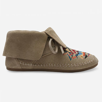 Toms Tribal Embroidery Zahara Womens Booties Oxford Tan  In Sizes