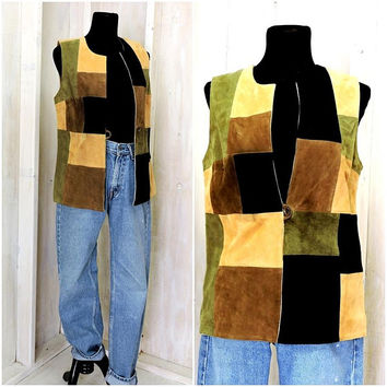 Boho leather vest /  brown suede patchwork / retro / hippie / festival / vintage 80s / size M