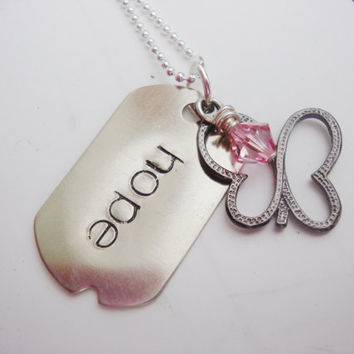 Hope small dog tag necklace with pink crystal and butterfly charm