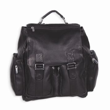 Black/Cafe/Tan Leather Back Pack with Laptop Sleeve