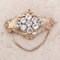 Victorian Paste Brooch 9K Yellow Gold with 14K Chain Glass Stones Hand Engraved Vintage