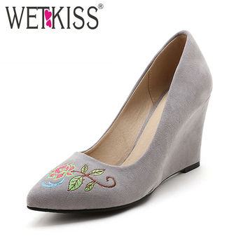 WETKISS New Arrival Vintage Embroider Shoes Woman Wedges Pumps Pointed toe Shallow Flock High Heels Shoes Female Big Size 32-48