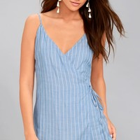 At the Seashore Light Blue Striped Romper