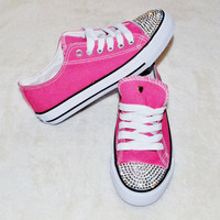 Customised Crystal Pink Low Top Baseball Shoes Trainers Pumps with Blinged Crystal Toes Ready To Ship Adults UK Size 4