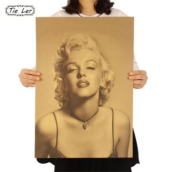 Vintage Classic Marilyn Monroe Poster Cafe Bar Home Decor Painting Retro Kraft Paper Wall Sticker Wallpaper 51.5X36cm