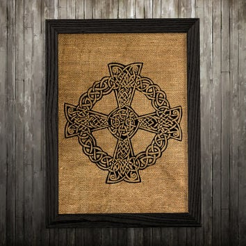 Celtic cross print Celtic art Symbol poster Burlap print BLP586