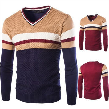Mens Trendy Fitted Pullover Sweater