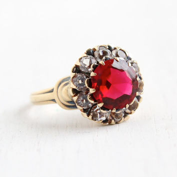 Vintage 10k Yellow Gold Ruby Red Glass Cluster Ring- Size 6 1/2 1930s 1940s Flower Jewelry Hallmarked PSCO
