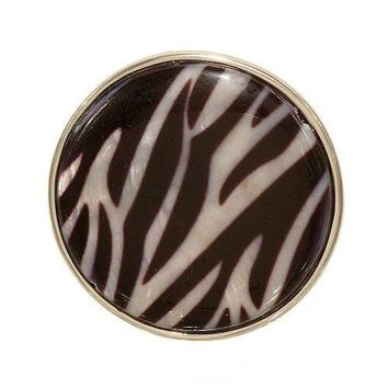 Large Silvertone Button Shape Fashion Ring in Black Zebra Stripe Mother of Pearl