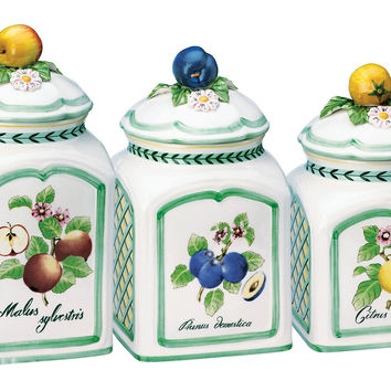 French Garden Charm Canisters, Set of 3, Kitchen Canisters, Canning & Spice Jars