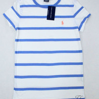NWT Ralph Lauren Sport White and Periwinkle Blue Stripe T-shirt - Misses Large