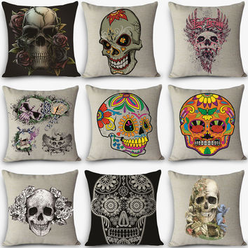 skull Print Home Decorative Cushion Throw Pillow Vintage Cotton Linen Square Pillows