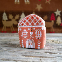 Gingerbread house decor, miniature clay house, Christmas decor, Christmas holiday decoration, cute little house, one of a kind