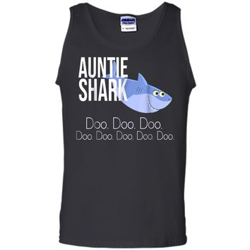 """Auntie Shark"" Baby Mommy Daddy Matching Family Shark  Tank Top"