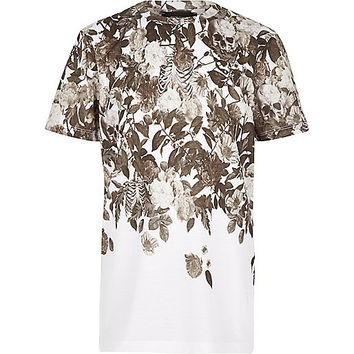 River Island Boys ecru faded skull print t-shirt