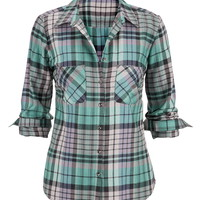 Metallic Button Back Plaid Shirt - Wintergreen