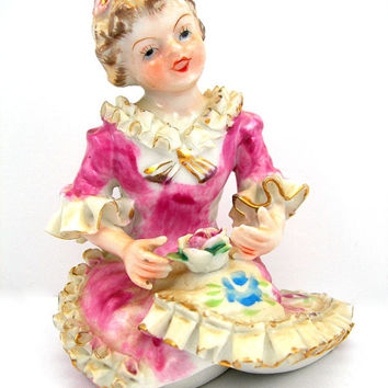 Young Girl Figurine, Porcelain Figure, Pink Dress with Ruffles, Holding a Rose, Vintage 1950s, Made in Japan