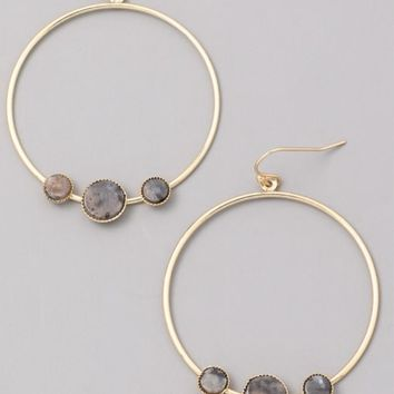 Marble Stone Charm Hoops