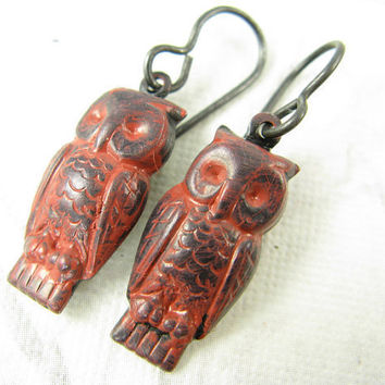 Rust Red Owl Earrings Hand Painted owls Arte Metal by CobwebCorner