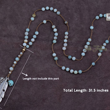 Exclusive 6MM Amazonite with Charms and Skull Beaded Y Necklace Luxury Handmade Bohemia Bead Women Rosary Necklace