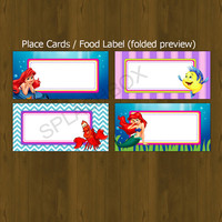 Ariel Little Mermaid Printable Food Label - Little Mermaid Ariel food label - INSTANT DOWNLOAD