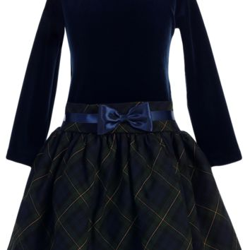 Navy Stretch Velvet & Green Plaid Drop Waist Girls Holiday Dress 2T-10