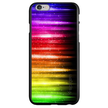 DistinctInk® Spigen ThinFit Case for Apple iPhone or Samsung Galaxy - Rainbow Light Glowing Lines