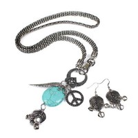 Vintage Antique Silver Plated Stone Necklace Set at Online Jewelry Store Gofavor