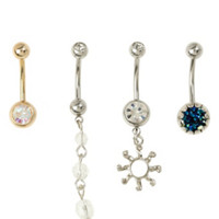 14G Steel Druzy Stone Sun Navel Barbell 4 Pack