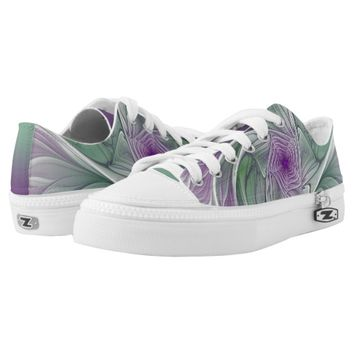 Flower Dream, Abstract Purple Green Fractal Art Low-Top Sneakers