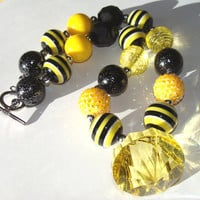 BumbleBee Inspired Chunky Necklace Toddler Girls Black And Yellow Fun Fashion Jewelry