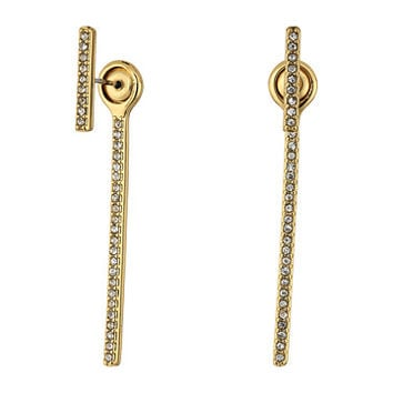 Rebecca Minkoff Pave Bar Front Back Earrings