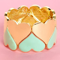 Greeting Cardio Mint and Gold Heart Bracelet