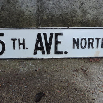 Vintage Street Sign 5th Ave. St. Sign Metal Street Sign 5th Ave North Industrial Decor Trendy 5th Ave. Metal Sign