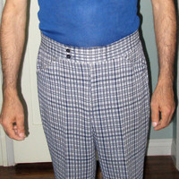 70s Men Navy Plaid Pants / Geek Chic Nerd Pants / Hipster Rockabilly / Marshall Fields
