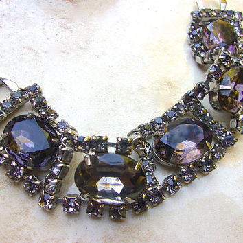 Smoky Gray Large Rhinestone Bracelet, Flexible 5 Sections, Vintage