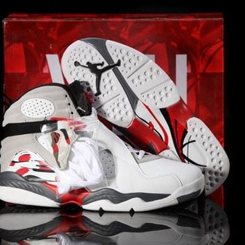 Nike Air Jordan 8 Retro White/Gym Red Black Wolf Grey Cheap Sale JD 8 Discount Women S