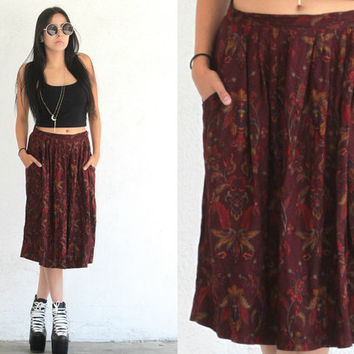 Vintage Bohemian // Floral Paisley Pocket High Waist Midi Skirt // Burgundy Red Multi // XS Extra Small / Small / Medium