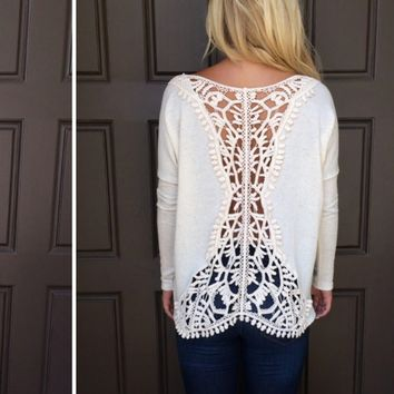 White Back Lace Patchwork Long Sleeve Shirt