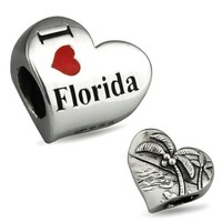 Ohm Beads Sterling Silver I Heart Florida Bead Charm