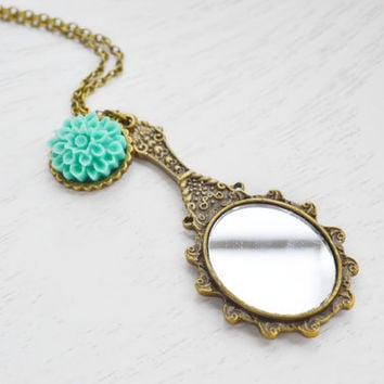 Mirror Charm Necklace,Victorian Style Hand Mirror Necklace,Mint Green Flower Necklace,Snow White,Queen Accessory,Long Necklace,Fairytales