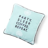 Party. Sleep. Coffee. Repeat. Decorative Pillow | Icing