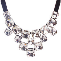 Square Crystal Bib Necklace
