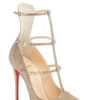 Women's Christian Louboutin 'Toeless' Caged Pointy Toe Pump,