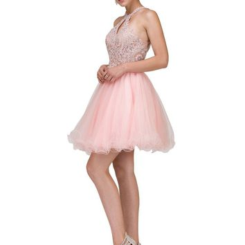 Sheer Illusion Short prom dress   DQ9992