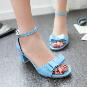 Ankle Strap Women Sandals Covered Chunky Heel Pumps 2226