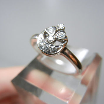 Crescent Moon and Hearts / Vintage Diamond Ring / set in 14k white and yellow gold / Unique Engagement ring / Diamond Ring / promise ring